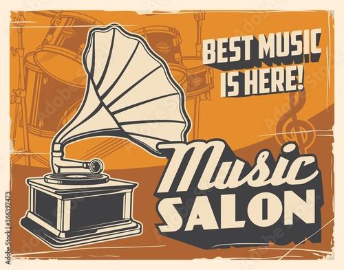 Fotografie, Tablou Retro gramophone and drum vector poster of music salon
