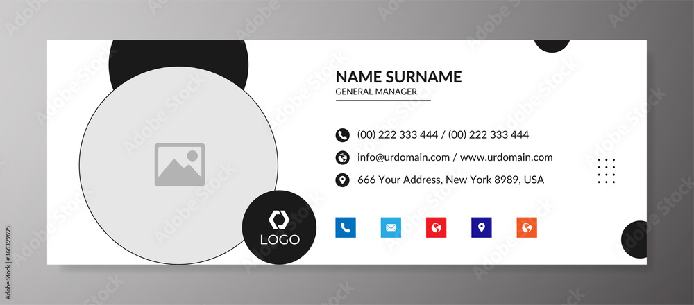 Fototapeta Corporate email signature template with an author photo place modern and minimal layout design