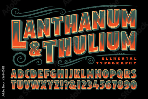 Fényképezés Lanthanum and Thulium is a Vintage Style Decorative Alphabet in Muted Green and