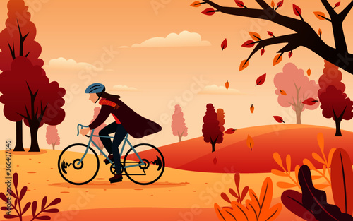 Fototapeta Vector Inspiration from an illustration of a man biking in an autumn afternoon with orange covering. obraz