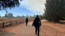 Firefighters Walking To Fight Brush Fire