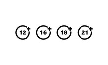 Set Of Age Restriction Icons. ...