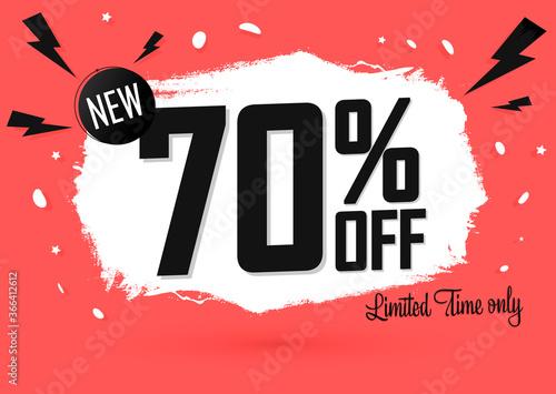 Sale 70% off, banner design template, discount tag, grunge brush, end of season, Fototapeta
