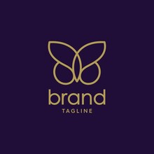 Illustration Of A Butterfly Design Logo With A Crown, With A Touch Of Flat And Luxury Logo Design