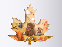 Paper Cut Autumn Maple Leaf With Owl, Bear, And Squirrel With A Happy Smile In A Forest, Beautiful Yellow And Orange Leave.