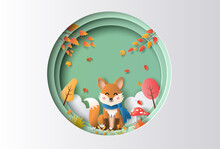Paper Art Style Of Autumn Landscape With A Happy Fox Sitting In A Forest.
