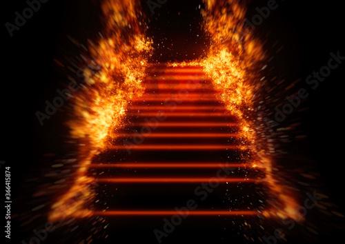 炎に包まれた抽象的な階段の3Dイラスト Canvas Print