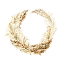 Watercolor Boho Wreath With Hand Painted Tropical Dried Leaves And Branches Of Pampas Grass. Romantic Floral Bohemian Set Perfect For Fabric Textile, Wedding Cards