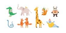 Set Of Childish Cute Animal Ch...