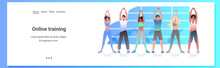 Mix Race People Doing Yoga Fitness Exercises Training Healthy Lifestyle Concept Men Women Working Out Together Horizontal Full Length Copy Space Vector Illustration