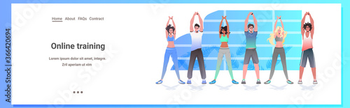 Fototapeta mix race people doing yoga fitness exercises training healthy lifestyle concept men women working out together horizontal full length copy space vector illustration obraz
