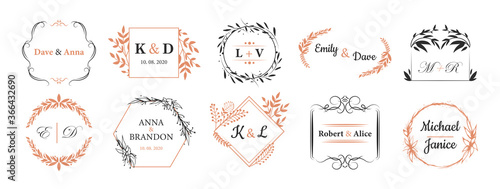 Obraz Wedding monograms set. Fancy logos in bohemian style, couple names in wreath like frames for event invitation cards design. For wedding ceremony, love, anniversary concepts - fototapety do salonu