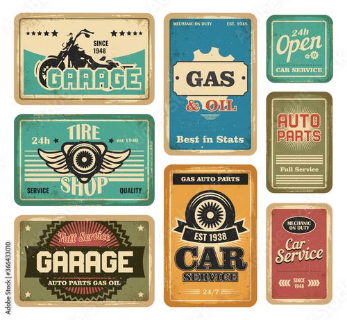 Garage vintage signs set Wallpaper Mural