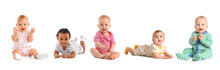Cute Little Babies On White Background