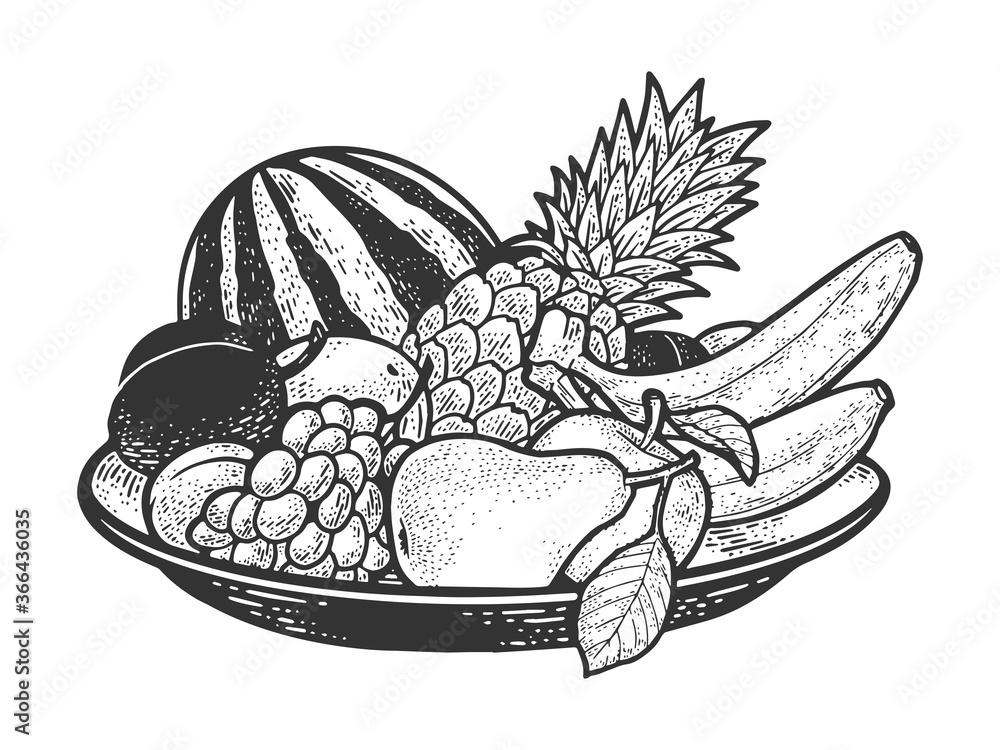 Fototapeta fruit plate sketch engraving vector illustration. T-shirt apparel print design. Scratch board imitation. Black and white hand drawn image.