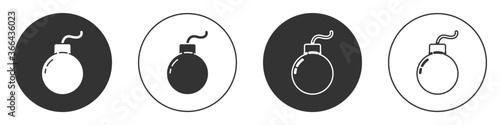 Valokuvatapetti Black Bomb ready to explode icon isolated on white background