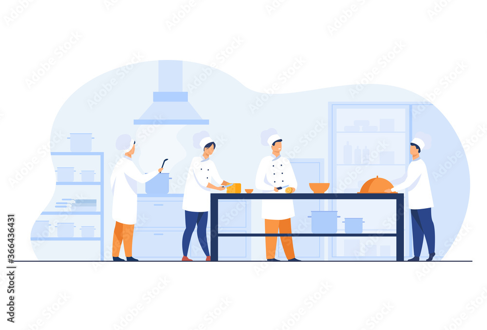 Fototapeta Chefs, cooks and waiters working at restaurant kitchen isolated flat vector illustration. Cartoon professional and commercial cooking process. Hospitality and food concept