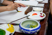 An Artist Painter Is Creating Traditional Chinese Paintings