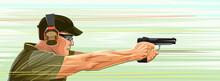 Shooting Pistol Vector. Aiming. Man Shoot Gun Target Standing. Firearms Training Instructor. Handgun. Detective, Policeman Or Soldier Marksman. Background Image. Armed Shooting Range. Flat Stile