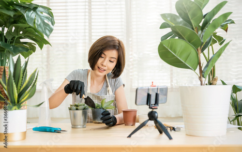 Fotografija Portrait of young asian woman planting plant to fan channel, recording video smartphone