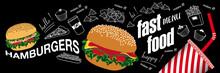 Affiche Ou Bannière Pour Fastfood Avec Des Aliments En Couleur Et Au Trait Blanc Sur Un Fond De Tableau Noir.