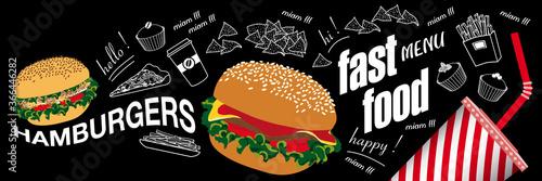 Fototapeta Affiche ou bannière pour fastfood avec des aliments en couleur et au trait blanc sur un fond de tableau noir