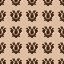 Beige Floral Seamless Background. With Brown Flower Design