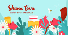 Greeting Banner With Symbols Of Jewish Holiday Rosh Hashana, New Year. Shana Tova - Blessing Of Happy New Year. Vector Illustration Design