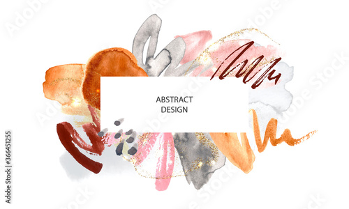 Fotografija Abstract background with watercolor brush strokes and gold glitter