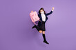 canvas print picture - Full length body size view of her she nice lucky active healthy small little long-haired girl jumping having fun wearing mask holiday isolated lilac violet purple pastel color background