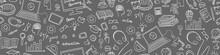 Online Education Seamless Web Banner. Distance Learning Doodles On Grey Background. Vector Illustration.