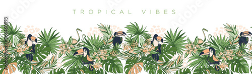 Vector illustration Tropical floral summer party poster invitation Fototapete