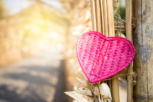Pink Bamboo Wooden Heart On Ba...