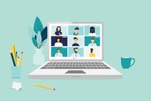 People Connecting Together, Learning Or Meeting Online With Teleconference, Video Conference Remote Working On Laptop Computer, Work From Home And Work From Anywhere Concept, Flat Vector Illustration