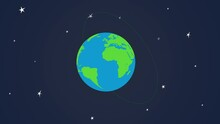 4k Cartoon Globe Illustration Isolated On A Blue Background. Flat Earth Planet With Continents And Oceans.