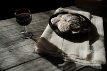 Glass Of Red Wine And A Plate ...