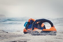 Empty Life Raft Beached During...