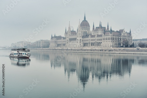 Fototapeta Beautiful view of Hungarian Parliament Building  in Budapest, Hungary