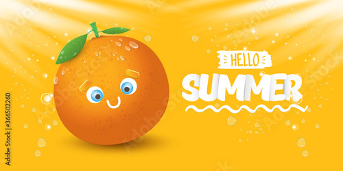 Obraz na płótnie Vector Hello Summer horizontal banner or flyer Design template with fresh orange fruit isolated on orange background with lights