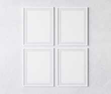 Four Vertical White Frame On W...