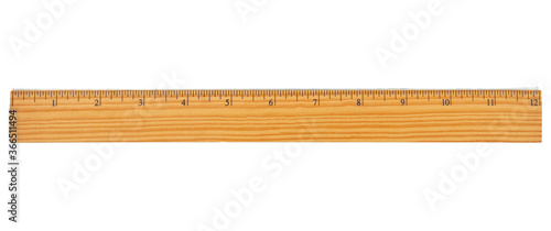 Fototapeta Retro wood 12-inch ruler isolated on white