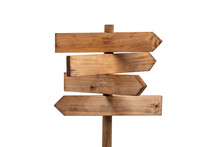 Wooden Sign Post Isolated On W...