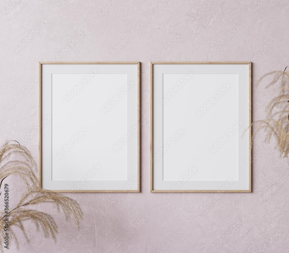 Fototapeta two wooden vertical frame mock up on pink background