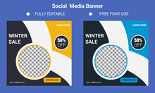 Editable Post Template Social Media Banners For Digital Marketing. Promotion Brand Fashion. Stories. Streaming. Vector Illustration - Vector