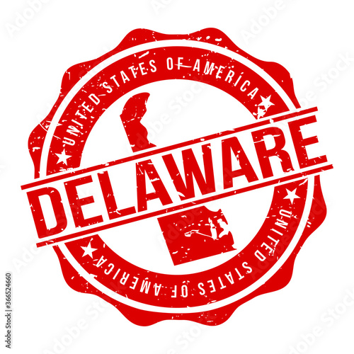 Photo Delaware America Original Stamp Design Vector Art Tourism Souvenir Round