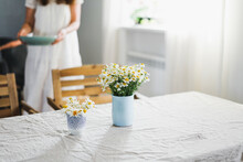 Table With Flowers Chamomile O...