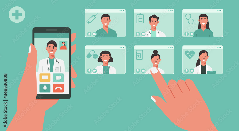 Fototapeta telemedicine concept, human hand holding smartphone using app for healthcare or online consultation on screen and choosing doctors for video call, vector flat illustration