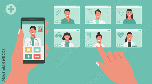 Fototapeta telemedicine concept, human hand holding smartphone using app for healthcare or online consultation on screen and choosing doctors for video call, vector flat illustration obraz