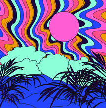 Mountain Landscape In Psychedelic 60's - 70's Style.