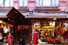 KATHMANDU, NEPAL - DEC 8, 2018: Unidentified People Walking In The Morning Market In Kathmandu, Nepal. The Morning Market Is Located Near Annapurna Temple At The Center Of Kathmandu, Nepal